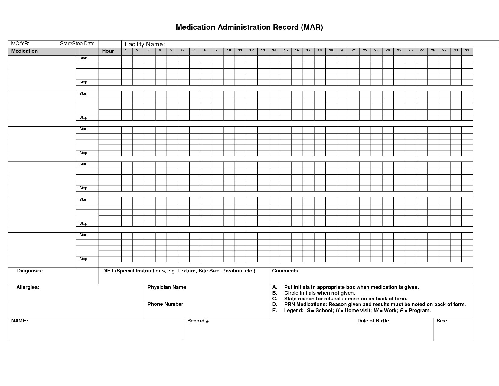post printable medication administration record template 135092