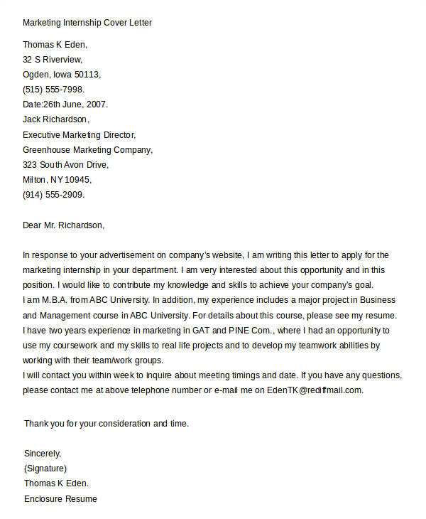 Marketing Internships Cover Letter Cover Letters for Internship 7 Free Word Pdf Documents