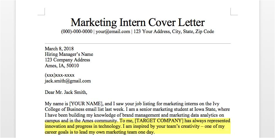 marketing intern cover letter sample