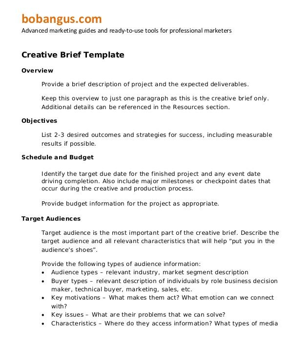 marketing brief templates