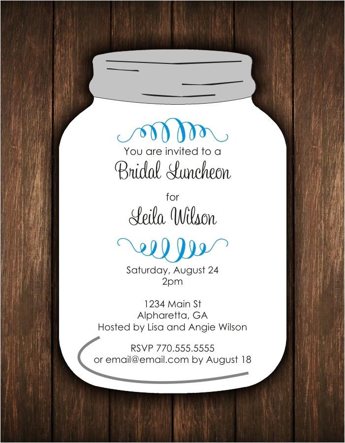 mason jar die cut invitation bridal shower or any occasion