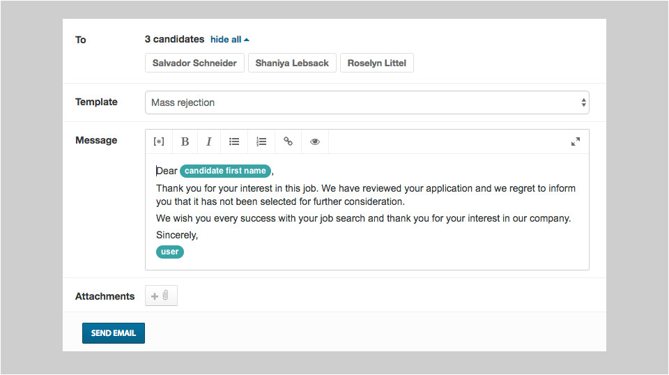 rejection email template
