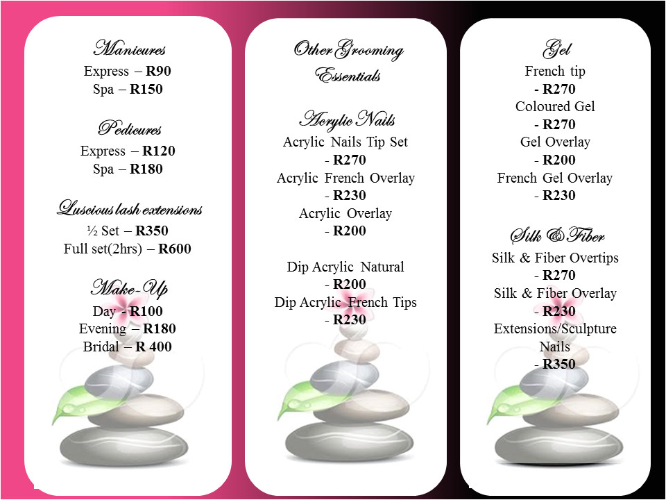 Massage Price List Template Belleza Perfecta Slimming Spa Belleza Updated Price List