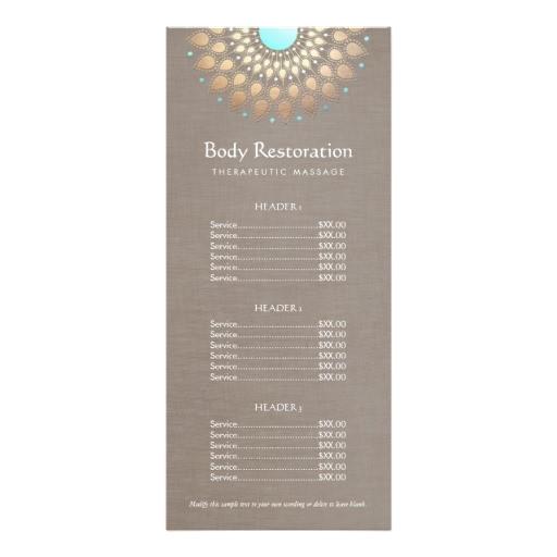 gold lotus massage therapist price list rack card 245448568730414161