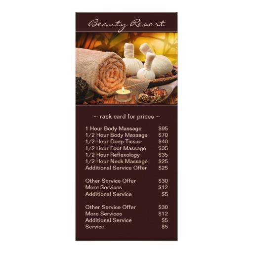 pre filled spa massage salon price list rack card 245595071132906869