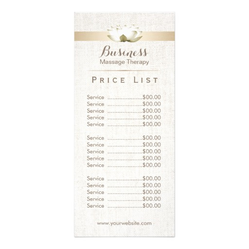 price list massage therapy elegant lotus salon rack card 245435201368609402