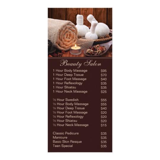 spa massage salon service menu with price list 245135997294449850