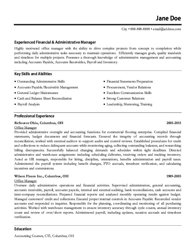 material manager resume examples