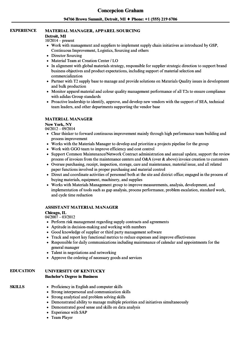 material manager resume sample