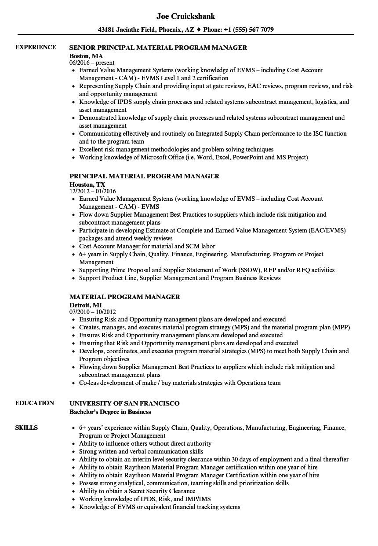 material program manager resume sample
