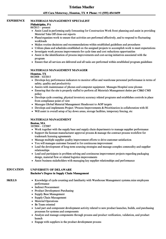 materials management resume sample