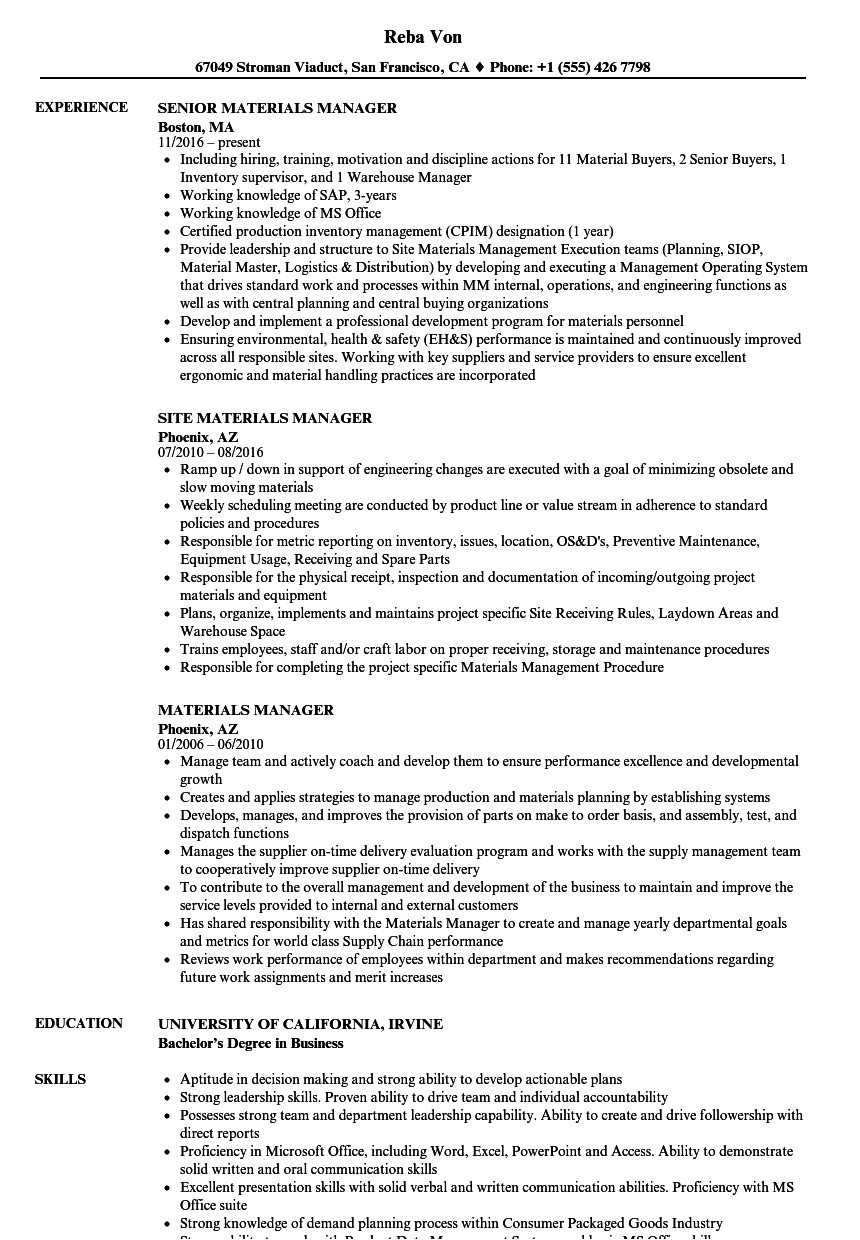 materials manager resume sample