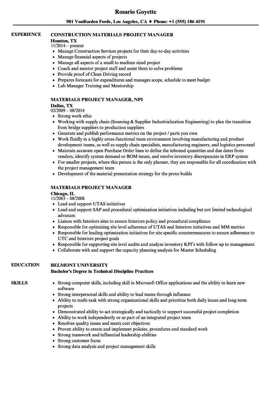 Material Management Resume Sample Materials Project Manager Resume Samples Velvet Jobs
