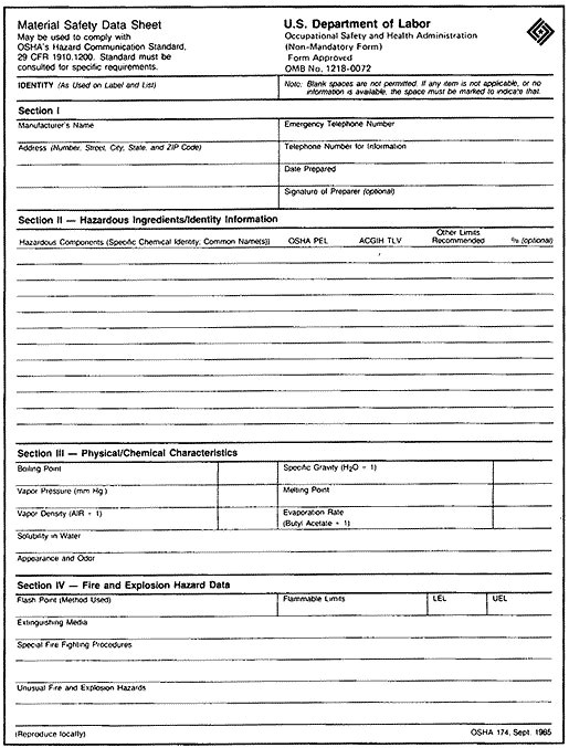 material safety data sheet template pdf