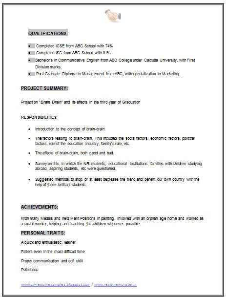 mba marketing resume sample doc