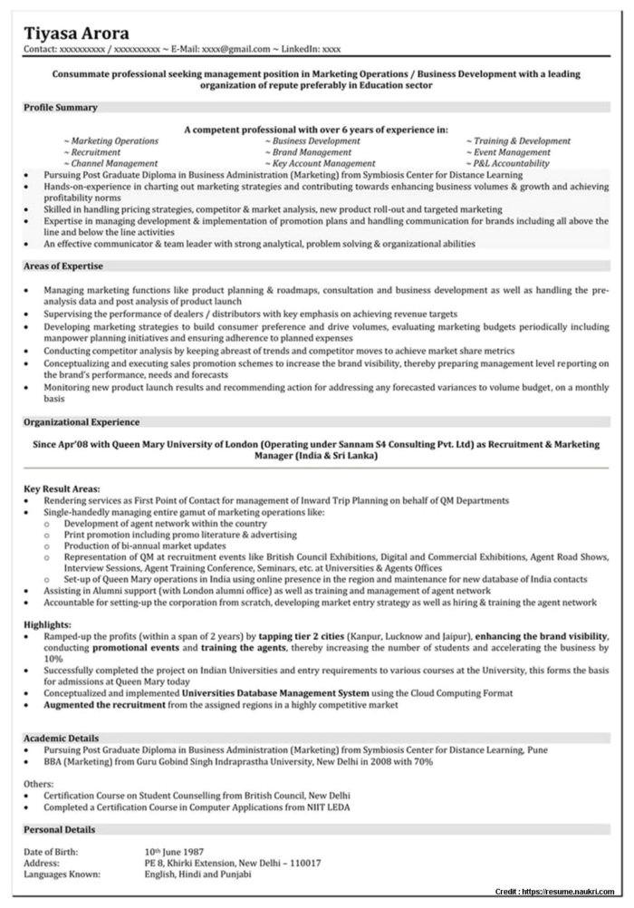 Mba Marketing Experience Resume Sample Sample Resume for Mba Freshers Marketing Resume Resume