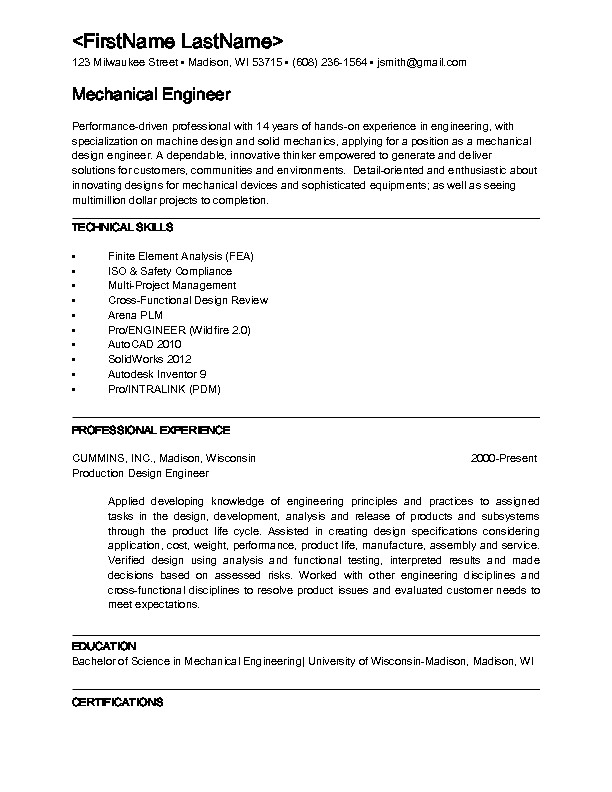 Mechanical Engineering Technologist Resume Sample Mechanical Engineering Resume Sample Best Professional