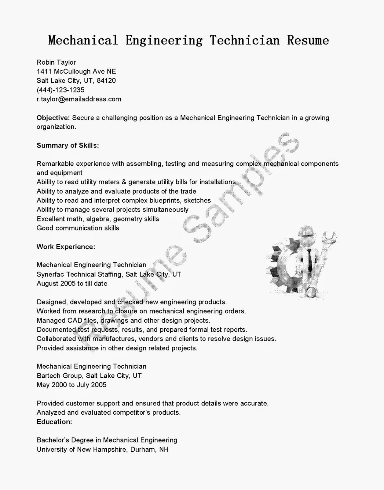 Mechanical Engineering Technologist Resume Sample Resume Samples Mechanical Engineering Technician Resume