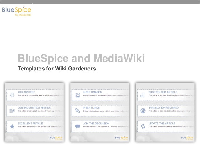 bluespice and mediawiki templates box set for wiki gardeners to improve quality