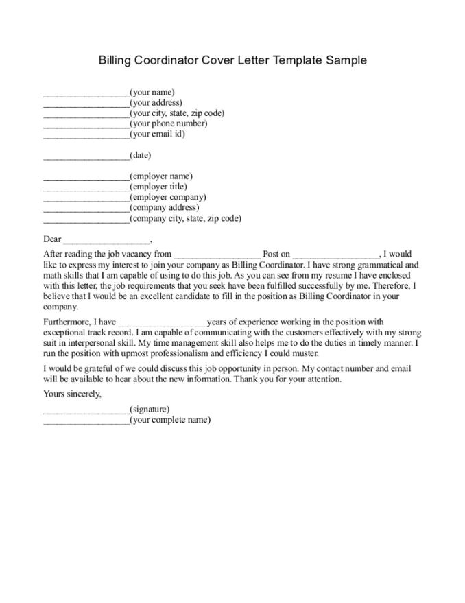 medical billing cover letter