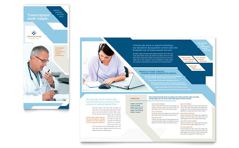 medical transcription tri fold brochure templates md0262301d