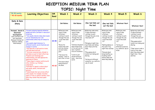medium term plan reception six weeks night time 11222000
