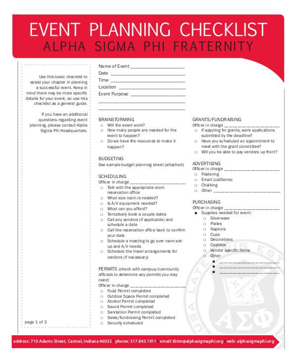Meeting Planner Checklist Template event Planning Checklist 11 Free Word Pdf Documents