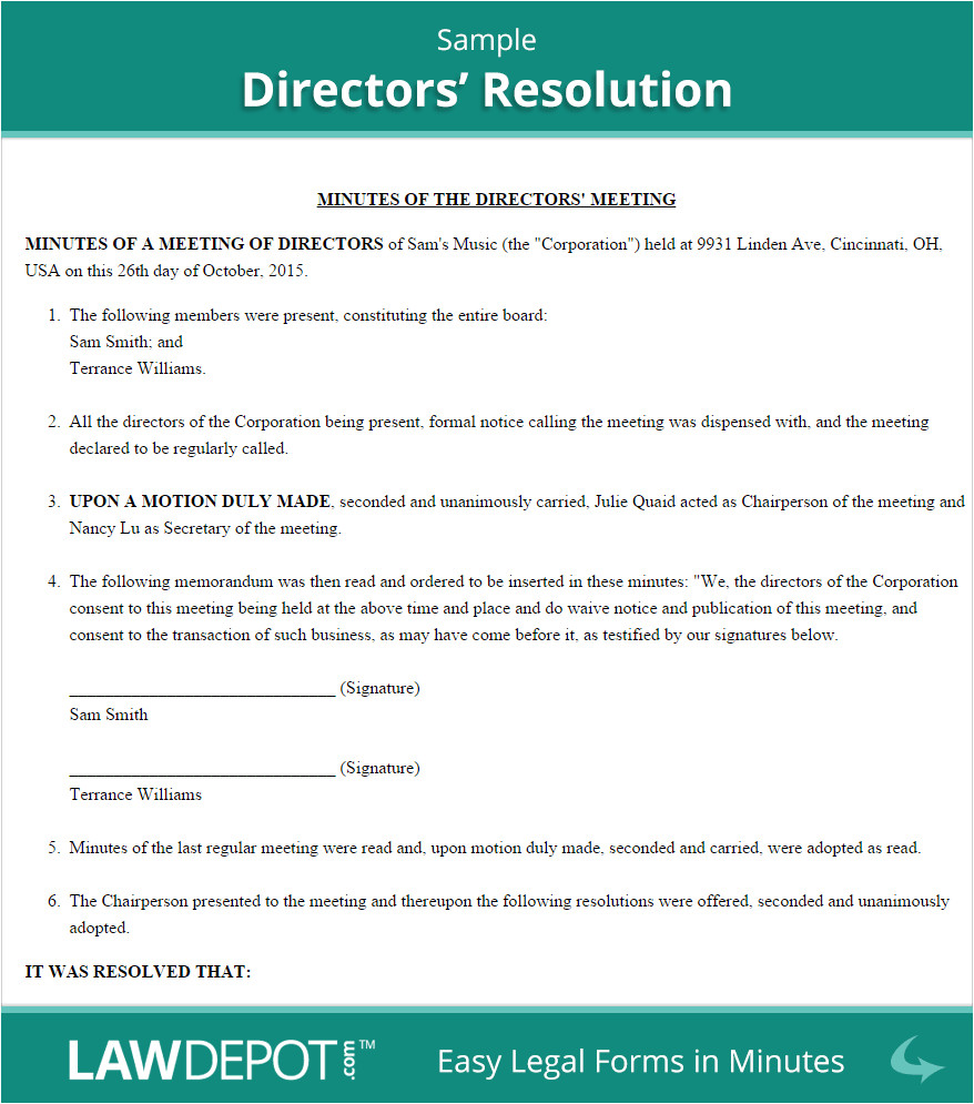 Members Resolution Template Directors 39 Resolution form Free Board Resolution