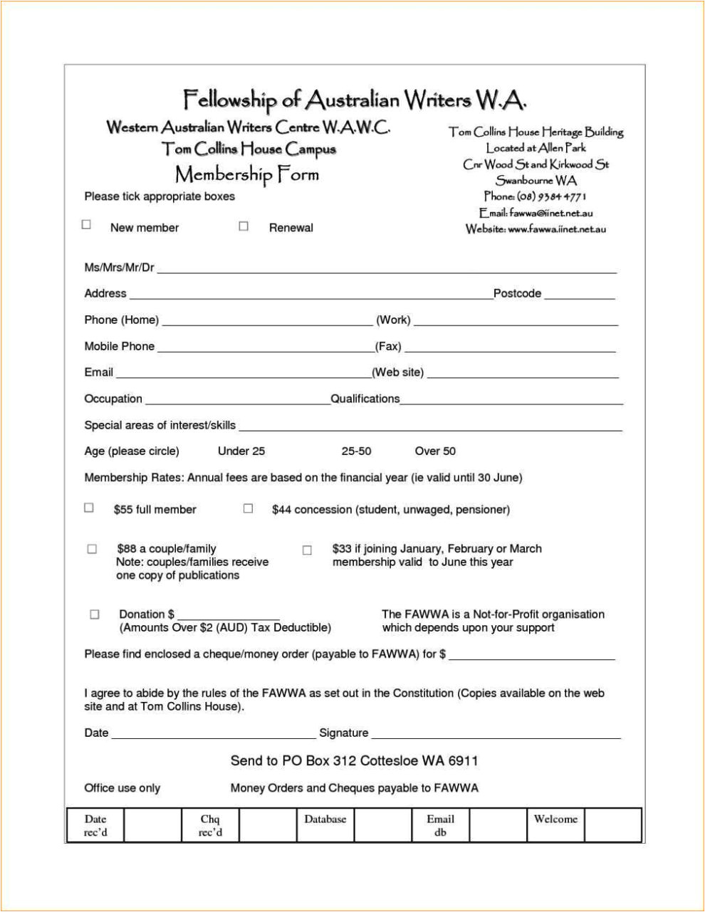 Membership form Template.doc Membership Application form Template Word