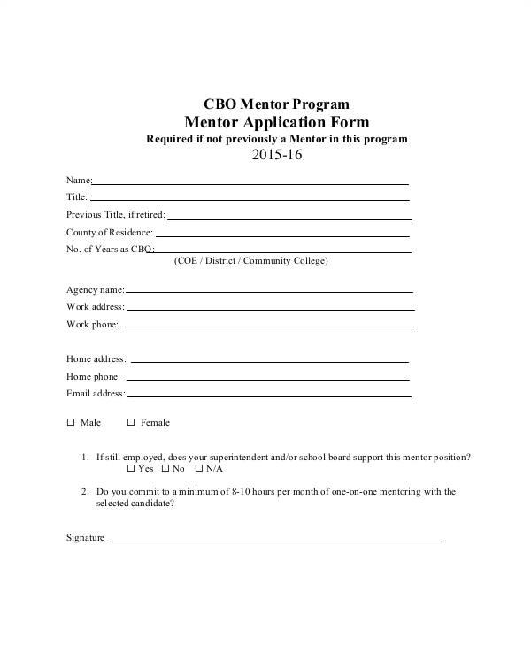 mentor application template