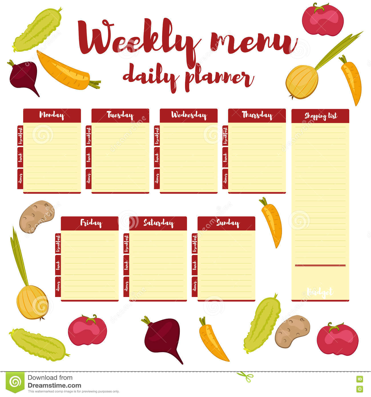 stock illustration weekly menu red planner colored paper note week healthy eating routine breakfast lunch dinner calendar template shopping image75503586