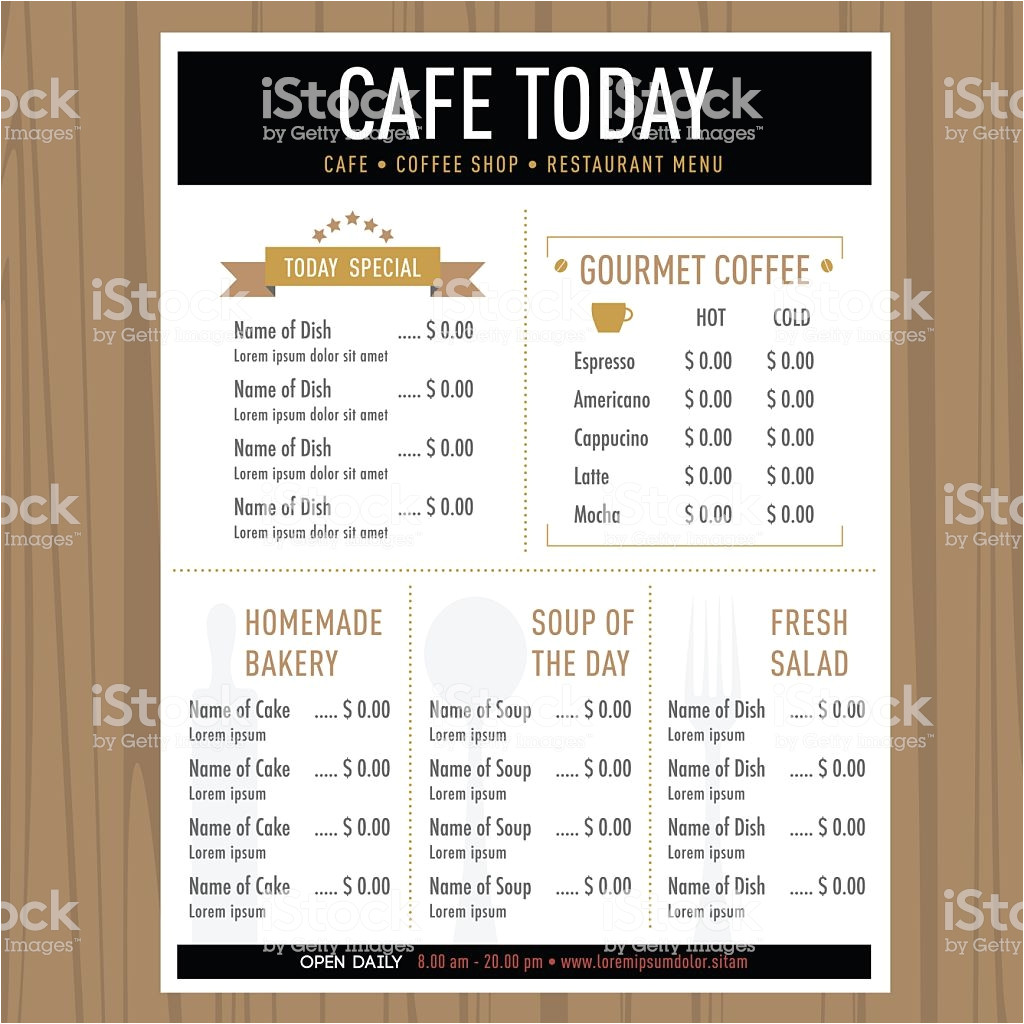 menu design template layout cafe restaurant hipster style gm480003168 68234751