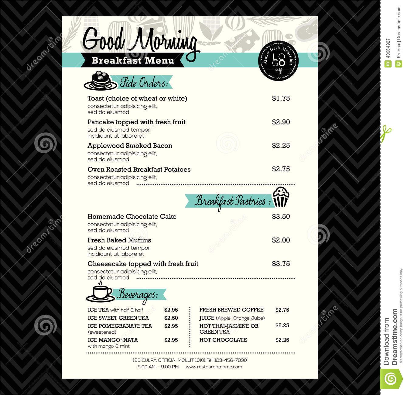 stock illustration restaurant breakfast menu design template layout vector image43664927