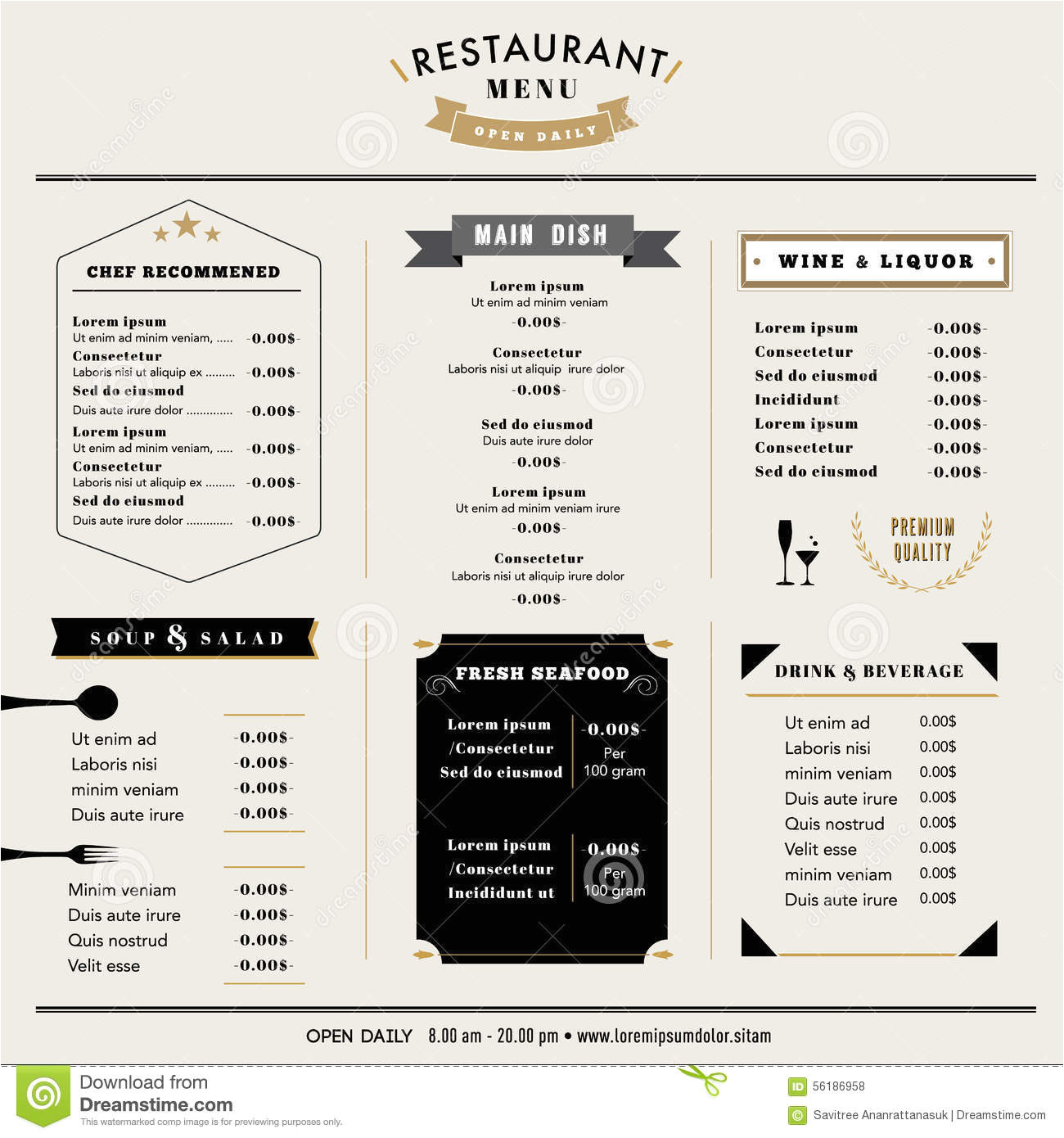 stock illustration restaurant menu design template layout icons emblem hipster style image56186958