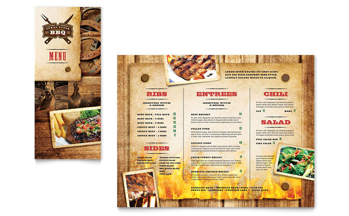 steakhouse bbq restaurant take out brochure template design fb0150801