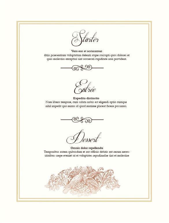 sample wedding menu