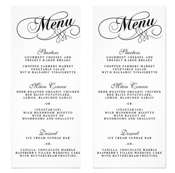 Menu Templates for Weddings 36 Wedding Menu Templates Free Sample Example format