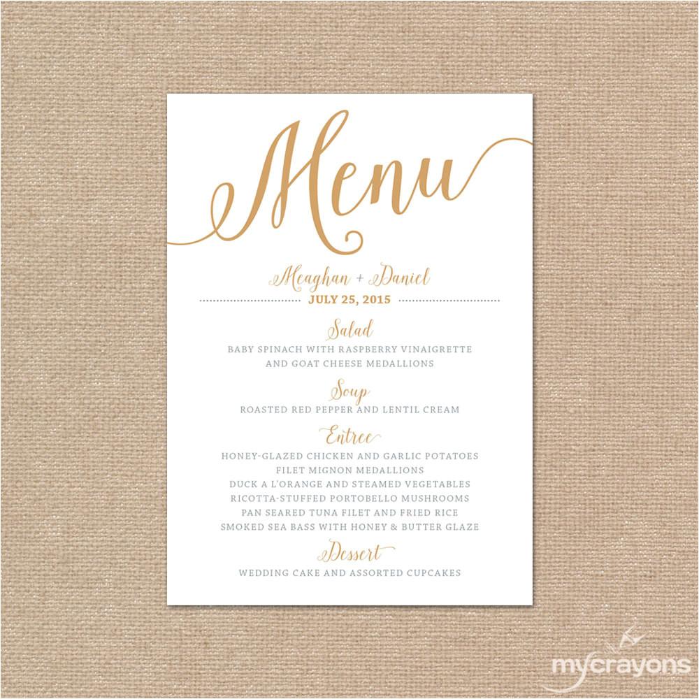 Menu Templates for Weddings Gold Wedding Menu Card Printable Wedding Menu Bella Script