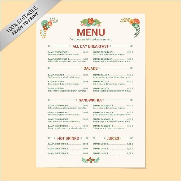 sample free menu