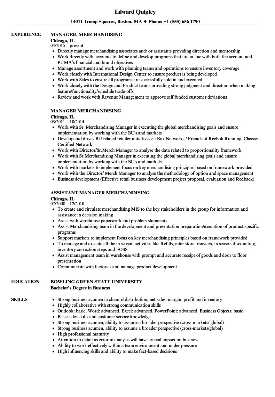 manager merchandising resume sample