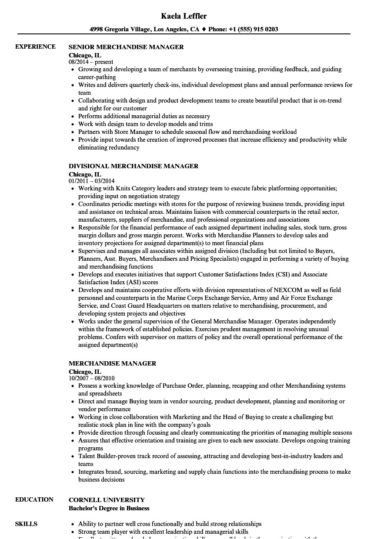 merchandise manager resume sample