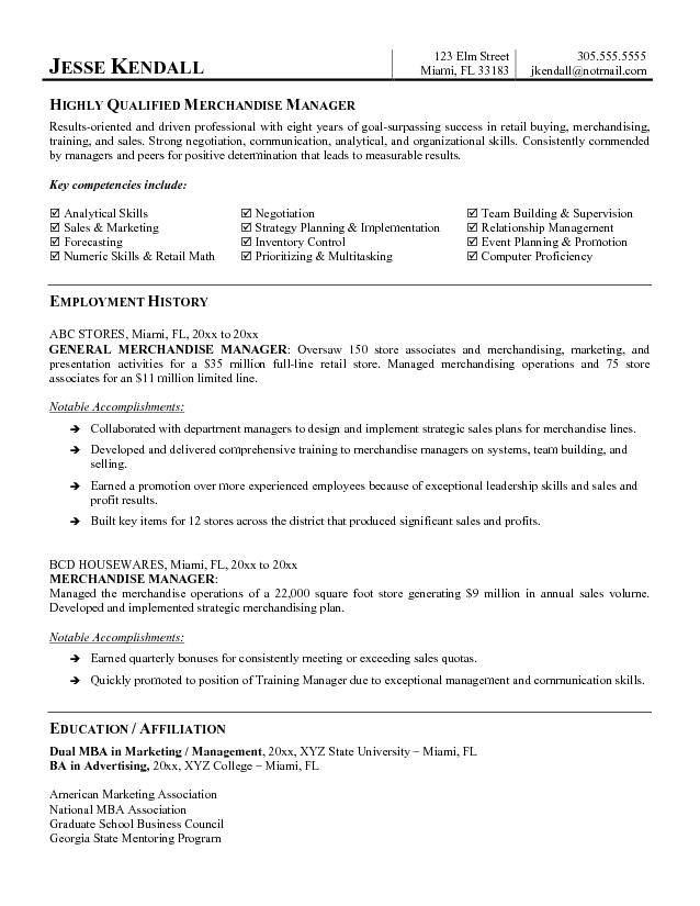Merchandise Manager Resume Sample Merchandise Manager Resume the Letter Sample