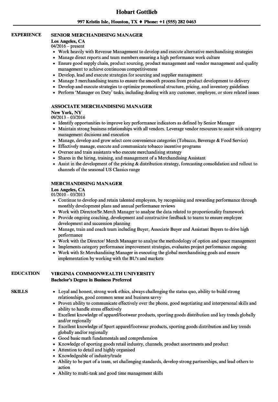 merchandising manager resume sample