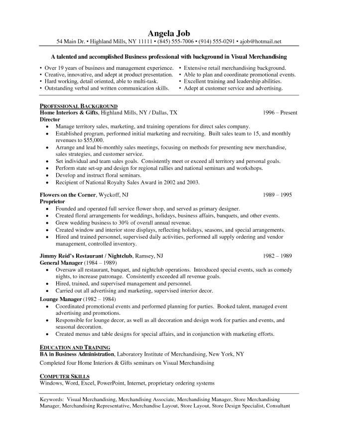 merchandising resume