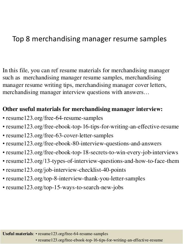 top 8 merchandising manager resume samples