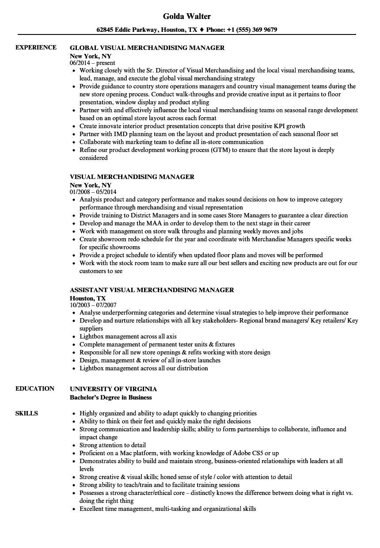 visual merchandising manager resume sample