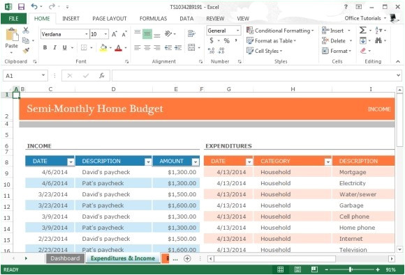 monthly home budget template microsoft excel 2013