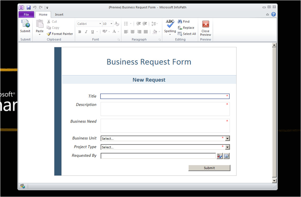 Microsoft Infopath form Templates Walkthrough Create An Infopath form Template to Submit