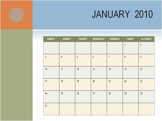 multi color 2010 calendar template