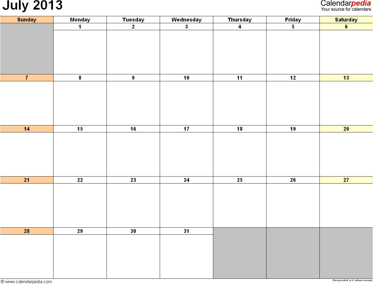 Microsoft Office 2013 Calendar Template July 2013 Calendar Template Doliquid